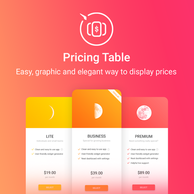 Pricing Table first screenshot