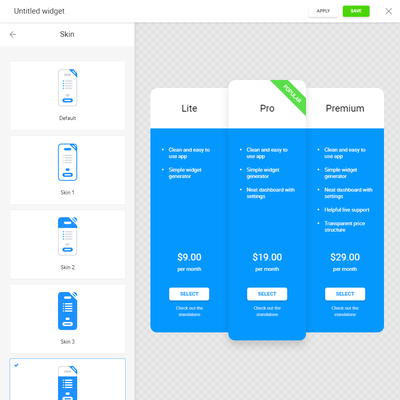 Pricing Table screenshot